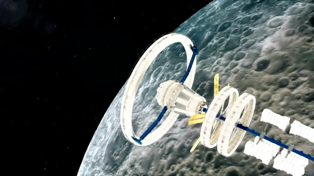 Space-station-flies-around-the-moon-Beautiful-detailed-animation-