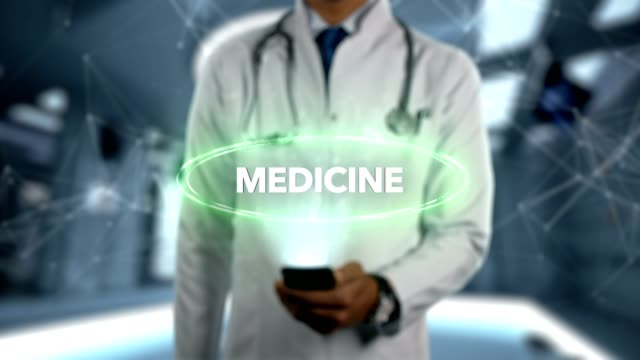 MEDICINE---Male-Doctor-With-Mobile-Phone-Opens-and-Touches-Hologram-Treatment-Word