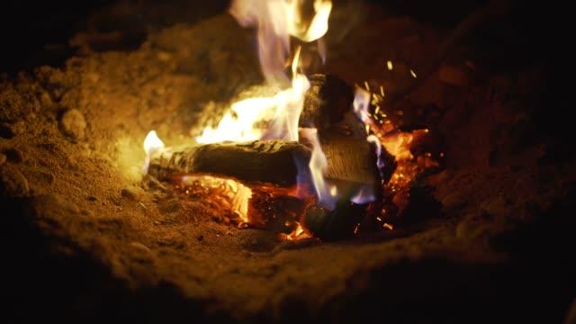 Burn-fire-with-wood-on-beach-camp