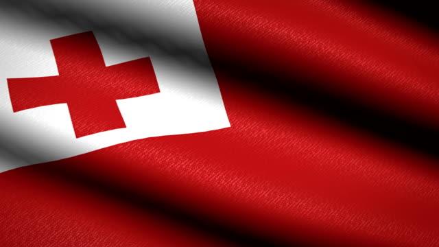 Tonga-bandera-ondeando-textil-textura-de-fondo-Seamless-Loop-animación-Pantalla-completa-Cámara-lenta-Vídeo-de-4-K