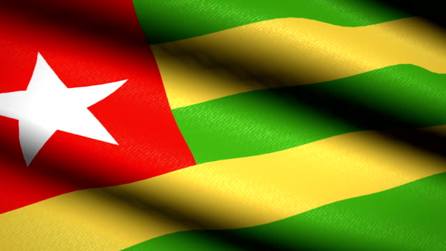 Togo-Flag-Waving-Textile-Textured-Background-Seamless-Loop-Animation-Full-Screen-Slow-motion-4K-Video