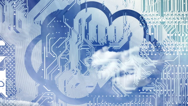 Cloud-computing-conceptual-video-Deep-blue-sky-with-clouds-time-laps-in-a-cloud-on-a-circuit-board-background-