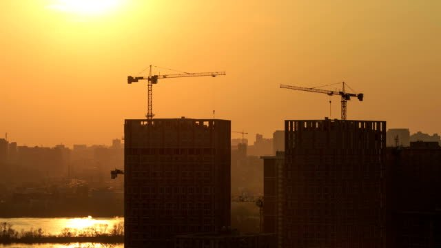 Building-Construction-At-Sunset-Timelapse