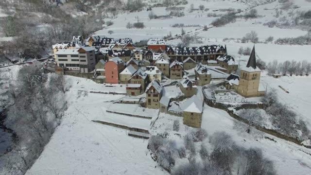 Snowy-mountain-village