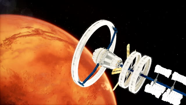 Space-station-flies-around-the-Mars-Beautiful-detailed-animation-