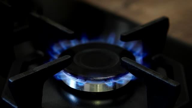 Burning-natural-gas-on-the-gas-burner-