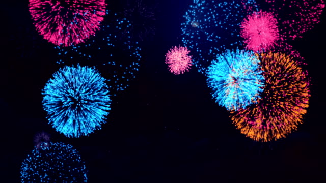 Firework-Display---concept-of-completion-on-black-star-black-sky-background-of-any-holiday:-Chinese-new-year-New-year-Christmas-wedding-birthday-Valentines-day-Thanksgiving-independence-day