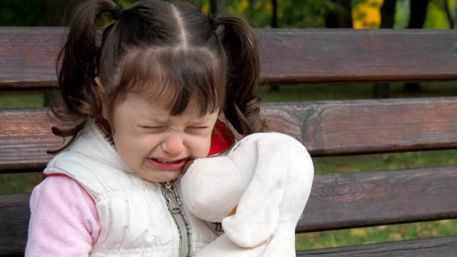 Emotions-of-the-child-Little-girl-is-crying-in-the-park