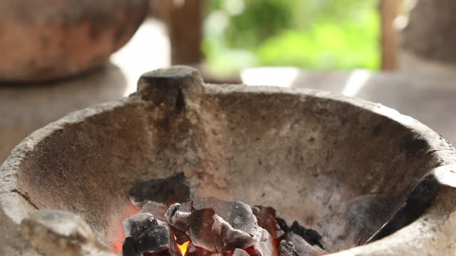 Heat-flame-above-fire-charcoal-thai-traditional-stove