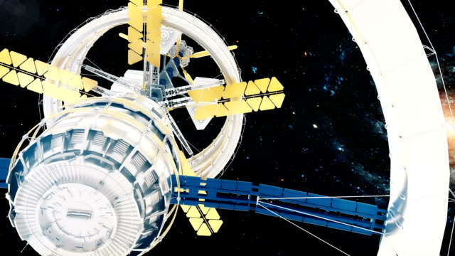 Space-station-flies-around-the-Galaxy-Beautiful-detailed-animation-
