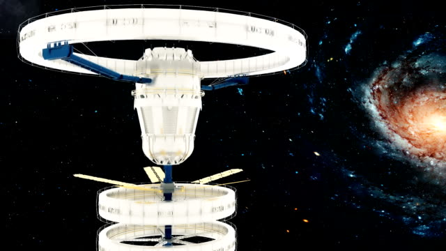 Space-station-flies-around-the-Galaxy-Beautiful-detailed-animation-Loopable-Background-