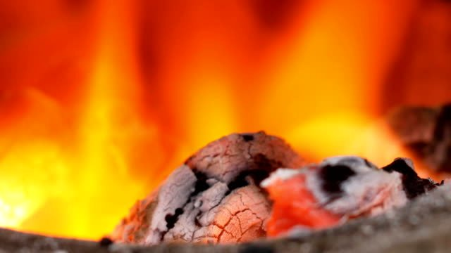 Bruning-of-fire-charcoal-and-sparking
