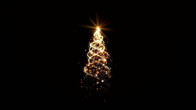 Weihnachtsbaum-gold-Leuchten-auf-schwarzem-Hintergrund-geloopt-für-Dekoration-oder-overlay