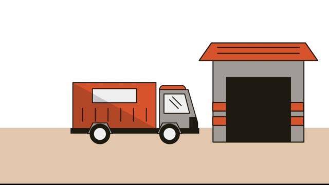 almacén-con-animación-de-servicio-entrega-avión-y-carro
