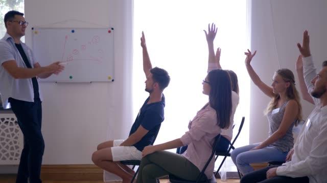 interaktive-Schulung-Seminar-Trainer-stellt-neues-Projekt-und-Kollegen-hob-die-Hände-im-Zimmer-hört