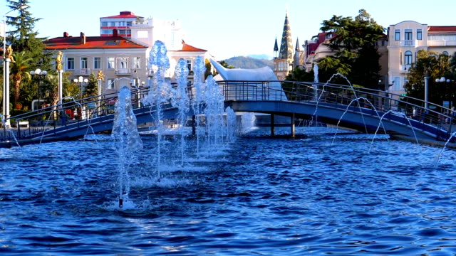 Musical-Fountains-in-the-park-on-the-embankment-of-Batumi-Georgia-Slow-Motion