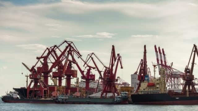 día-luz-ciudad-trabajo-puerto-de-shenzhen-industrial-grúas-Bahía-panorama-4k-china-de-lapso-de-tiempo
