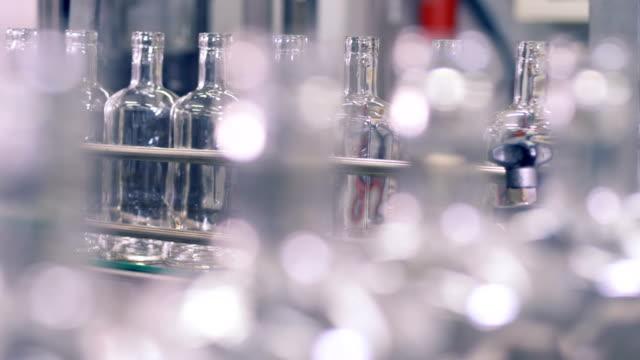 Botellas-de-vidrio-se-mueven-lentamente-sobre-una-cinta-transportadora-en-una-planta-