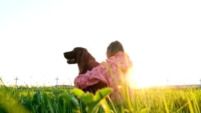 Mujer-abrazando-al-perro-al-atardecer-sentado-sobre-la-hierba