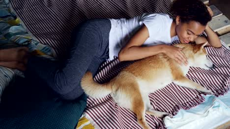 Sweet-mixed-race-girl-is-stroking-purebred-shiba-inu-dog-lying-on-bed-while-animal-is-enjoying-love-and-tenderness-Loving-animals-kind-people-and-relaxation-concept-