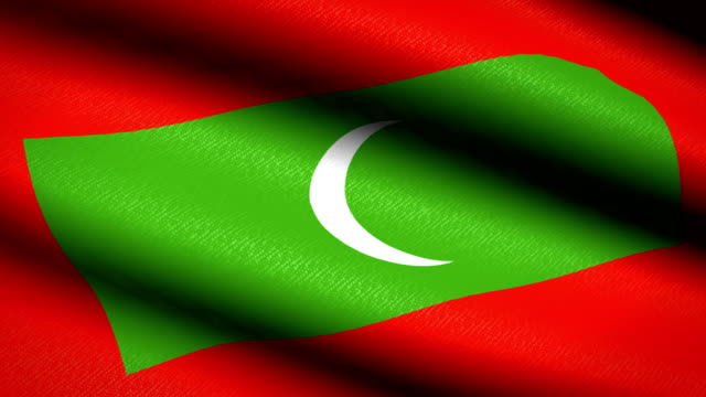 Maldives-Flag-Waving-Textile-Textured-Background-Seamless-Loop-Animation-Full-Screen-Slow-motion-4K-Video