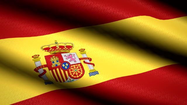 Spain-Flag-Waving-Textile-Textured-Background-Seamless-Loop-Animation-Full-Screen-Slow-motion-4K-Video