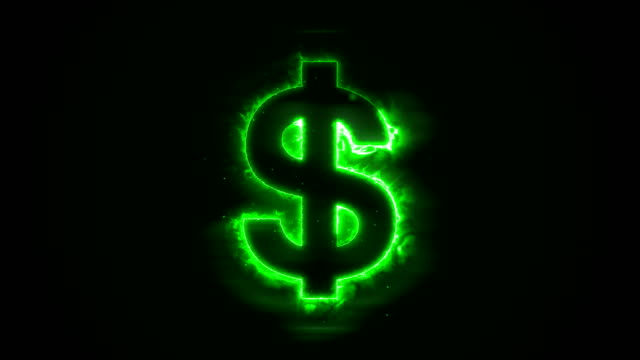 Seamless-animation-of-burning-a-dollar-on-a-black-background-with-a-green-flame