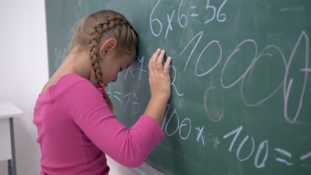 unhappy-schoolgirl-near-board-with-examples-on-mathematics-in-elementary-school-class
