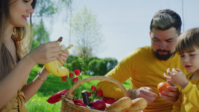 Family-eating-fruits-on-a-picnic