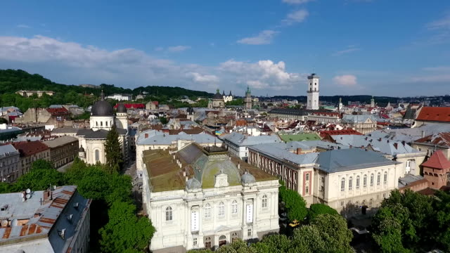 Aerial-shooting-of-the-beautiful-architecture-of-the-city-of-Lviv