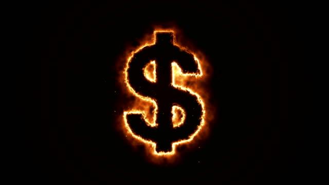 Seamless-animation-of-burning-dollar-on-a-black-background