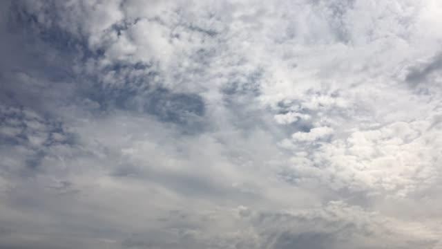 Bewölkter-Himmel-Weiße-Wolken-verschwinden-in-der-heißen-Sonne-am-blauen-Himmel-Time-Lapse-Bewegung-Wolken-blauer-Himmelshintergrund-Blauer-Himmel-mit-weißen-Wolken-und-Sonne-