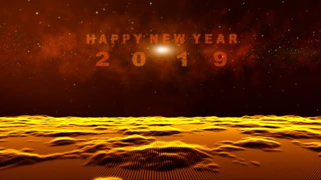 Digitalen-abstrakten-Partikel-Form-Gitterlinien-fliegen-über-gold-Landschaft-Oberfläche-Raum-Nebel-Starfield-Hintergrund-das-Teilchen-führt-in-ein-glückliches-neues-Jahr-2019