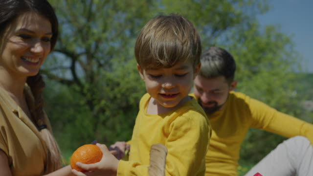 Boy-taking-out-fruits-from-picnic-basket