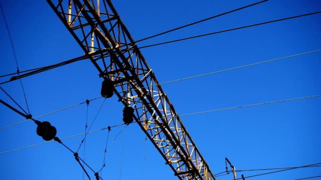 Cables-sobre-el-camino-ferroviario-Tiro-en-movimiento-