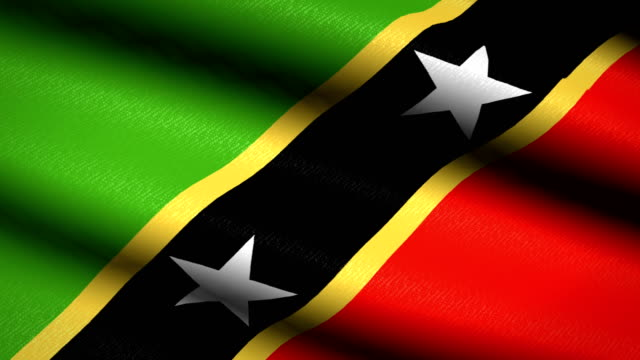 Saint-Kitts-and-Nevis-Flag-Waving-Textile-Textured-Background-Seamless-Loop-Animation-Full-Screen-Slow-motion-4K-Video