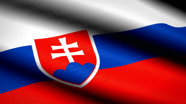 Slovakia-Flag-Waving-Textile-Textured-Background-Seamless-Loop-Animation-Full-Screen-Slow-motion-4K-Video