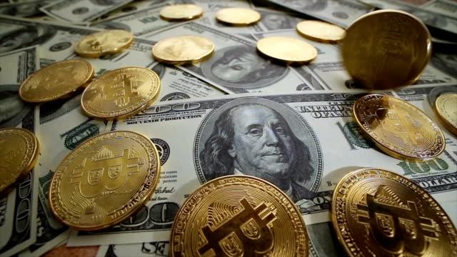 Gold-Bit-Coin-BTC-coins-and-dollar-bills-