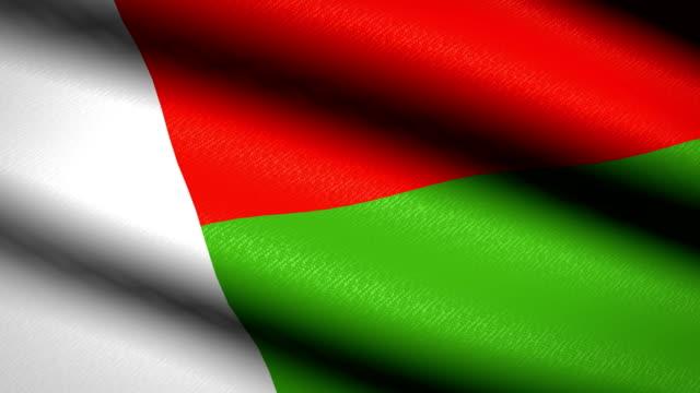 Bandera-de-Madagascar-ondeando-textil-textura-fondo-Seamless-Loop-animación-Pantalla-completa-Cámara-lenta-Vídeo-de-4-K