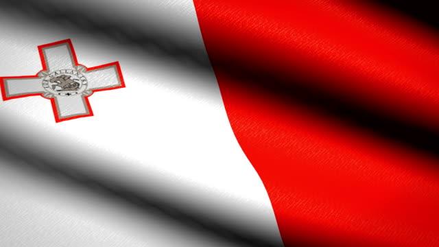 Malta-Flag-Waving-Textile-Textured-Background-Seamless-Loop-Animation-Full-Screen-Slow-motion-4K-Video