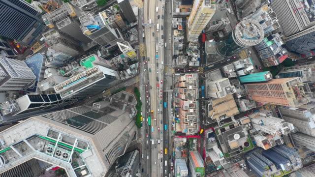 Tag-Zeit-Stadtbild-Verkehrsstraße-Antenne-Topdown-Panorama-4k-Hongkong