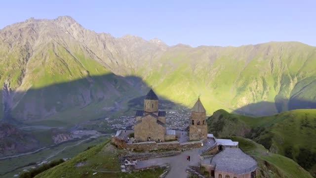 Aerial-view-of-Gergeti-Trinity-Church-Tsminda-Sameba-near-Gergeti-Georgia-