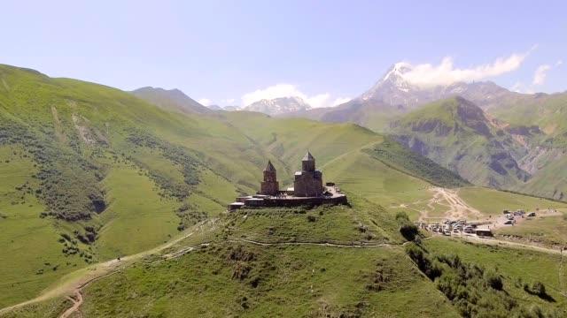 AERIAL-Gergeti-church-Cminda-Sameba-Kazbegi-Stepantsminda-Georgia