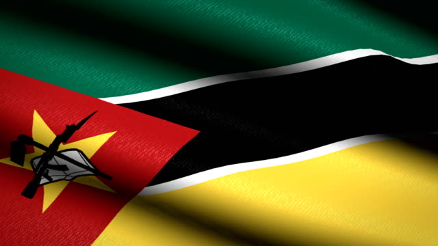 Mozambique-Flag-Waving-Textile-Textured-Background-Seamless-Loop-Animation-Full-Screen-Slow-motion-4K-Video