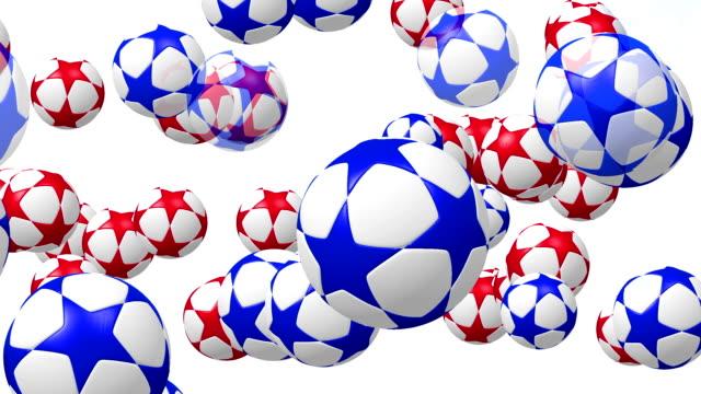 Fußball,-Fußbälle-mit-Sternen-in-rot-und-blau-auf-weiß