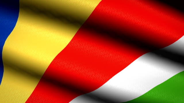 Seychelles-Flag-Waving-Textile-Textured-Background-Seamless-Loop-Animation-Full-Screen-Slow-motion-4K-Video