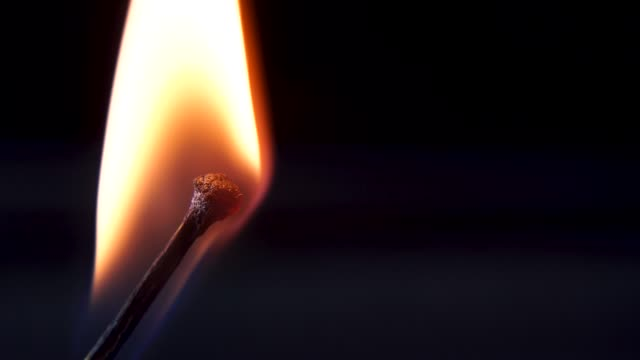 Burning-Match-And-Flame-Safety-Match-close-up-on-a-black-background