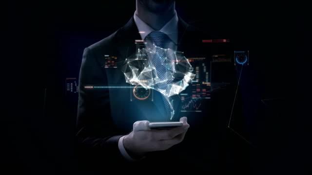 Teléfono-inteligente-táctil-de-empresario-diapositiva-cerebro-conectar-líneas-digitales-con-interfaz-digital-cultivar-la-inteligencia-artificial-4-película-de-k-