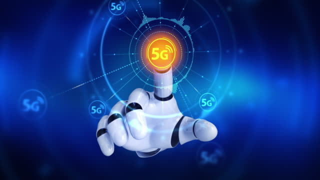 Robot-hand-touching-on-screen-then-high-speed-5G-symbols-appears
