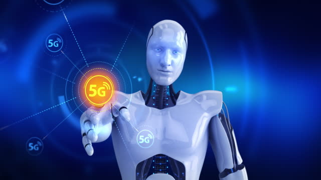 Humanoid-robot-touching-on-screen-then-high-speed-5G-symbols-appears